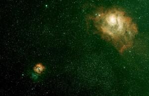 M8 Nébuleuse de la Lagune et M20 Nébuleuse trifide dans le Sagittaire